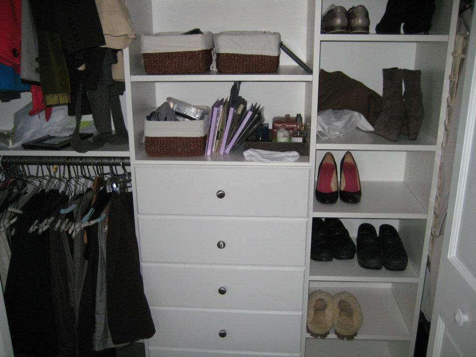 Do It Yourself Home Design: Closet Organizers For Reach-In Closet Space In Massachusetts
